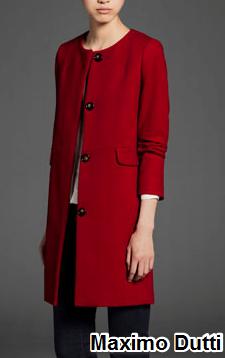 abrigo rojo massimo dutti